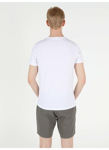 Colin's Slim Fit Bisiklet Yaka Örme Erkek Beyaz Kısa Kol Tişört Beyaz
